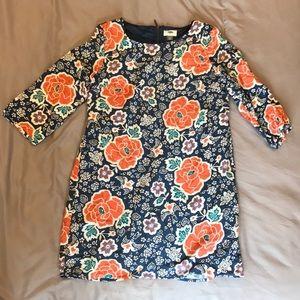 Floral/bird print shift dress